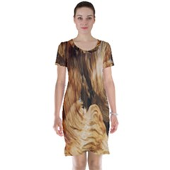 Brown Beige Abstract Painting Short Sleeve Nightdress