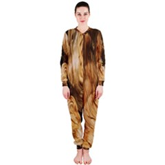 Brown Beige Abstract Painting Onepiece Jumpsuit (ladies)