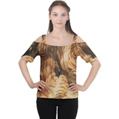 Brown Beige Abstract Painting Women s Cutout Shoulder Tee