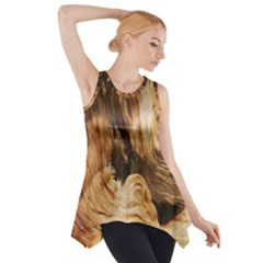 Brown Beige Abstract Painting Side Drop Tank Tunic