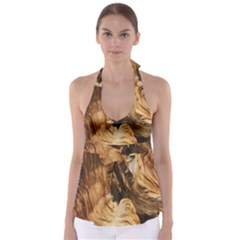 Brown Beige Abstract Painting Babydoll Tankini Top