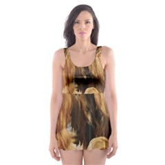 Brown Beige Abstract Painting Skater Dress Swimsuit