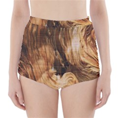 Brown Beige Abstract Painting High Waisted Bikini Bottoms
