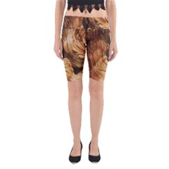 Brown Beige Abstract Painting Yoga Cropped Leggings