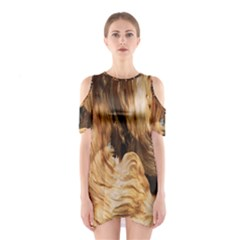 Brown Beige Abstract Painting Shoulder Cutout One Piece
