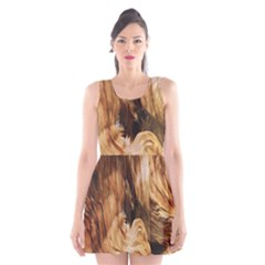 Brown Beige Abstract Painting Scoop Neck Skater Dress