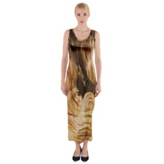 Brown Beige Abstract Painting Fitted Maxi Dress
