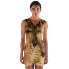 Brown Beige Abstract Painting Wrap Front Bodycon Dress