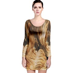 Brown Beige Abstract Painting Long Sleeve Velvet Bodycon Dress