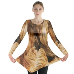 Brown Beige Abstract Painting Long Sleeve Tunic