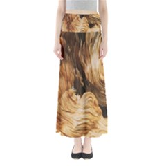 Brown Beige Abstract Painting Maxi Skirts