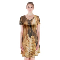 Brown Beige Abstract Painting Short Sleeve V-neck Flare Dress