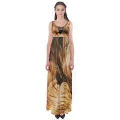 Brown Beige Abstract Painting Empire Waist Maxi Dress