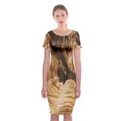 Brown Beige Abstract Painting Classic Short Sleeve Midi Dress