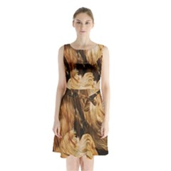 Brown Beige Abstract Painting Sleeveless Chiffon Waist Tie Dress