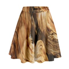 Brown Beige Abstract Painting High Waist Skirt