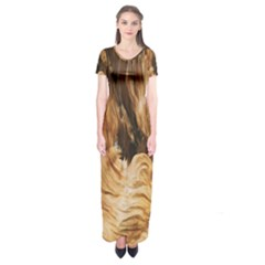 Brown Beige Abstract Painting Short Sleeve Maxi Dress