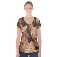 Brown Beige Abstract Painting Short Sleeve Front Detail Top