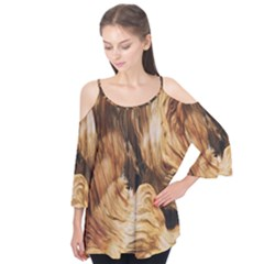 Brown Beige Abstract Painting Flutter Tees