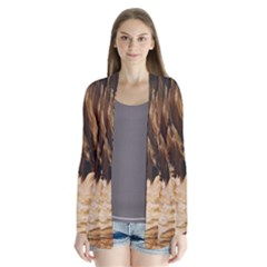 Brown Beige Abstract Painting Cardigans