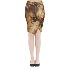 Brown Beige Abstract Painting Midi Wrap Pencil Skirt