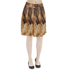 Brown Beige Abstract Painting Pleated Skirt