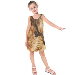 Brown Beige Abstract Painting Kids  Sleeveless Dress