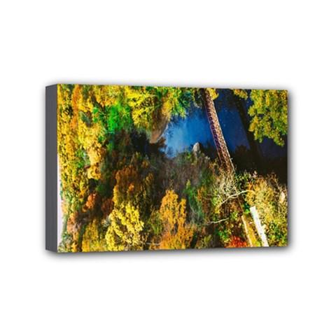 Bridge River Forest Trees Autumn Mini Canvas 6  x 4