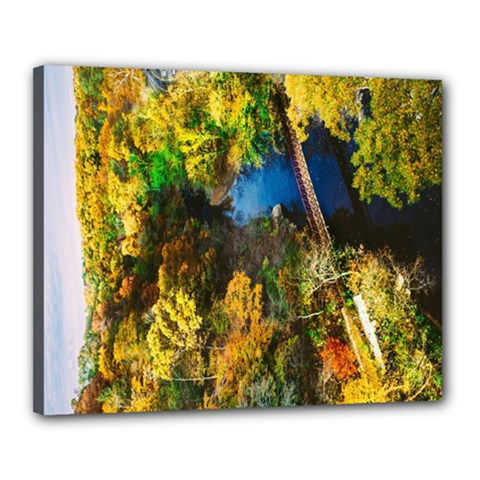 Bridge River Forest Trees Autumn Canvas 20  x 16