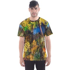 Bridge River Forest Trees Autumn Men s Sport Mesh Tee