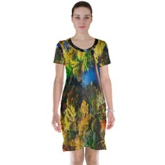Bridge River Forest Trees Autumn Short Sleeve Nightdress