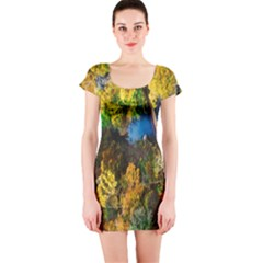 Bridge River Forest Trees Autumn Short Sleeve Bodycon Dress