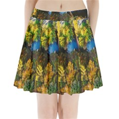 Bridge River Forest Trees Autumn Pleated Mini Skirt