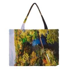 Bridge River Forest Trees Autumn Medium Tote Bag
