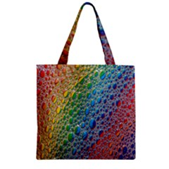Bubbles Rainbow Colourful Colors Zipper Grocery Tote Bag