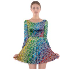 Bubbles Rainbow Colourful Colors Long Sleeve Skater Dress