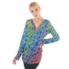 Bubbles Rainbow Colourful Colors Women s Tie Up Tee