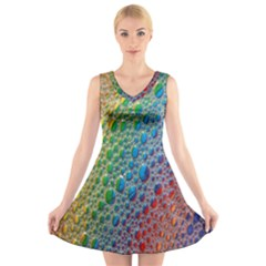 Bubbles Rainbow Colourful Colors V Neck Sleeveless Skater Dress