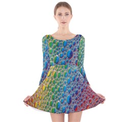 Bubbles Rainbow Colourful Colors Long Sleeve Velvet Skater Dress