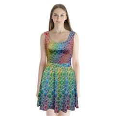 Bubbles Rainbow Colourful Colors Split Back Mini Dress