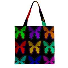 Butterflies Pattern Zipper Grocery Tote Bag