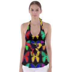 Butterflies Pattern Babydoll Tankini Top