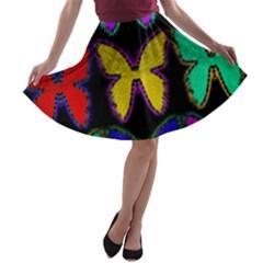 Butterflies Pattern A-line Skater Skirt