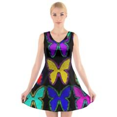 Butterflies Pattern V Neck Sleeveless Skater Dress