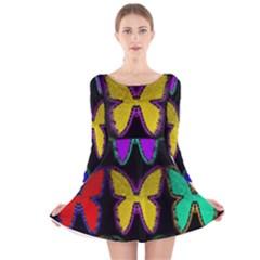 Butterflies Pattern Long Sleeve Velvet Skater Dress