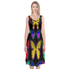 Butterflies Pattern Midi Sleeveless Dress