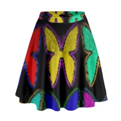 Butterflies Pattern High Waist Skirt