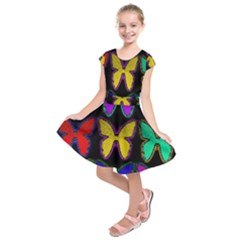 Butterflies Pattern Kids  Short Sleeve Dress
