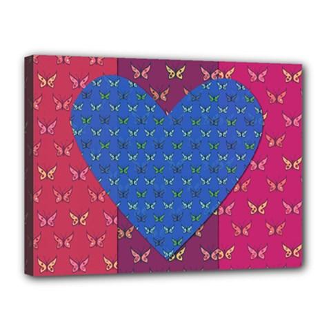 Butterfly Heart Pattern Canvas 16  x 12