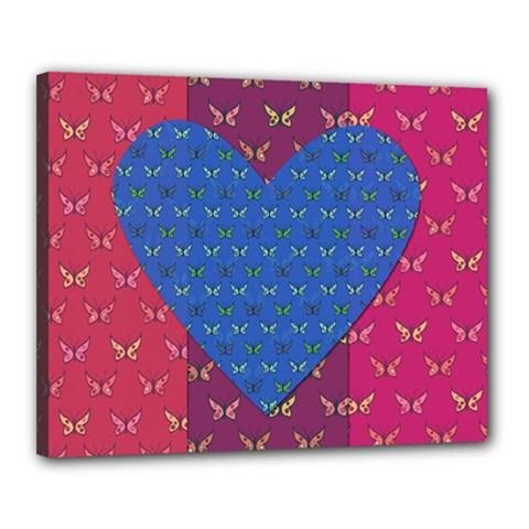 Butterfly Heart Pattern Canvas 20  x 16